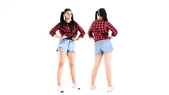 Pretty girl in jeans shorts 20 - 3DOcean Item for Sale