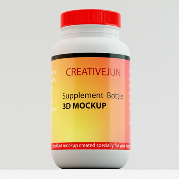 Supplement Bottle with Red Cap