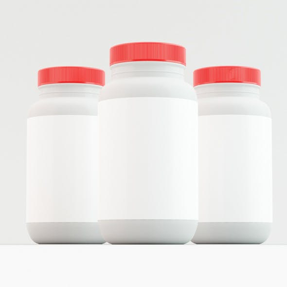 3 sided Supplement Bottle with Red Cap - 3DOcean Item for Sale