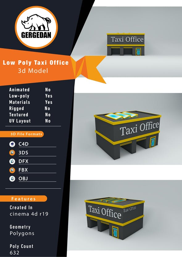 Low Poly Taxi Office - 3DOcean Item for Sale
