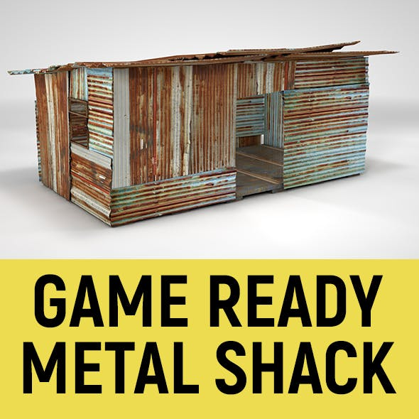 Corrugated Steel Shed - Rusty Metal Shack Pack Low-poly 3D model