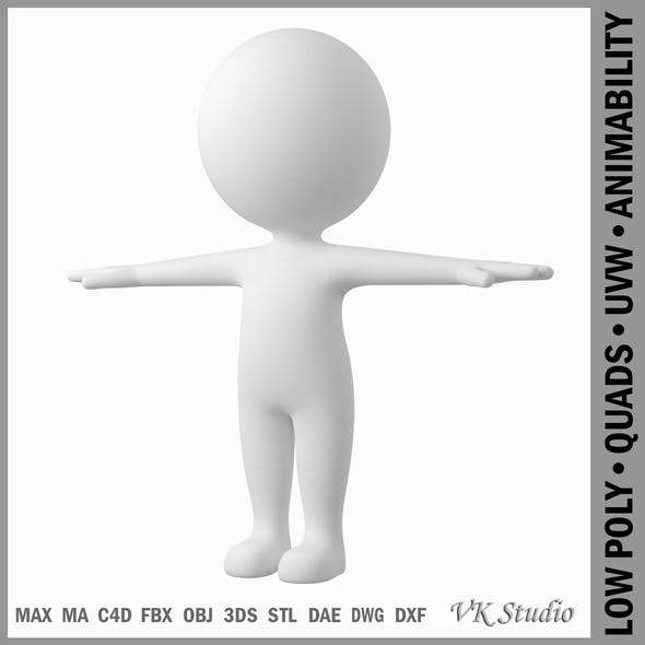 Cute Stylized Stickman in T-Pose - 3DOcean Item for Sale