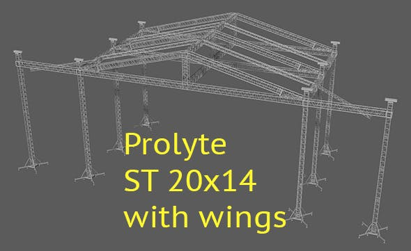 Prolyte ST 20x14 roof with side wings - 3DOcean Item for Sale