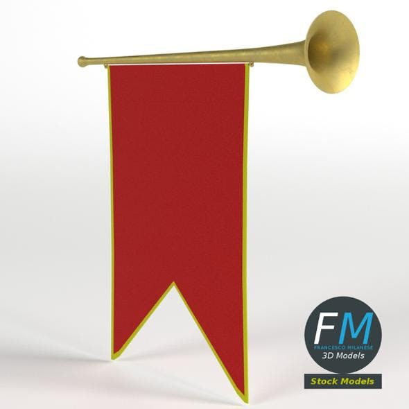 Small medieval trumpet with banner - 3DOcean Item for Sale