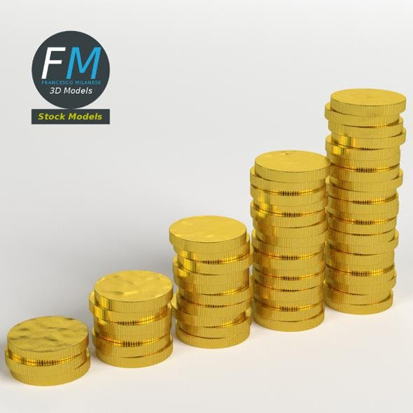 Stylized coins stack - 3DOcean Item for Sale