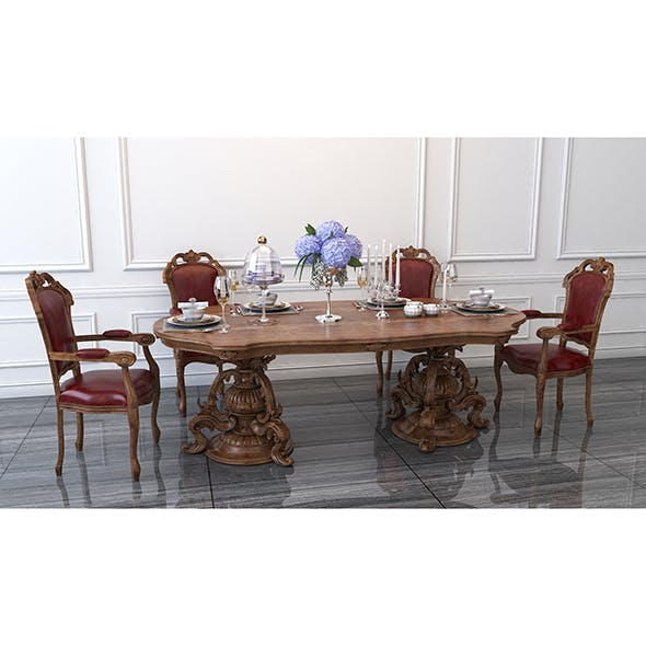 Carved Tables and Chairs European Style - 3DOcean Item for Sale