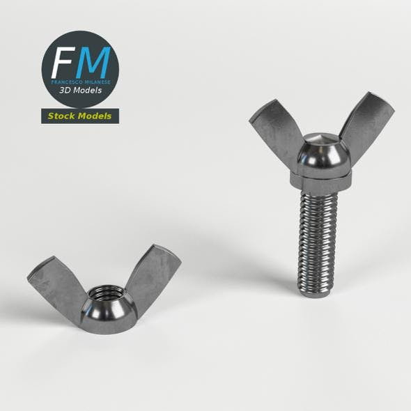 Wing nut and screw - 3DOcean Item for Sale
