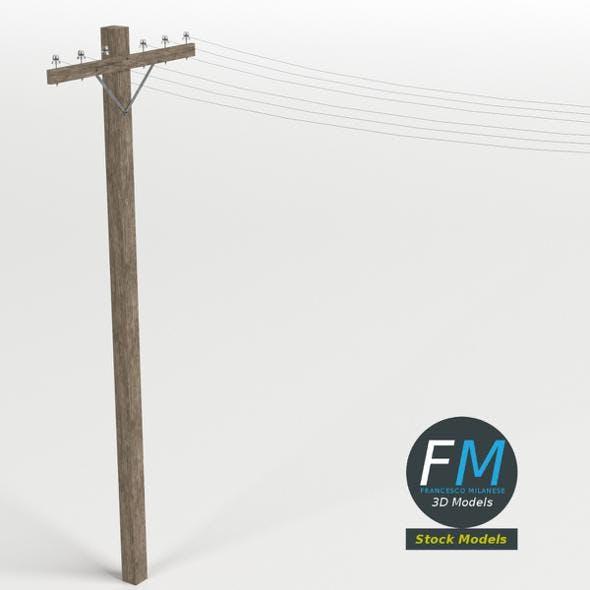 Wooden telephone pole