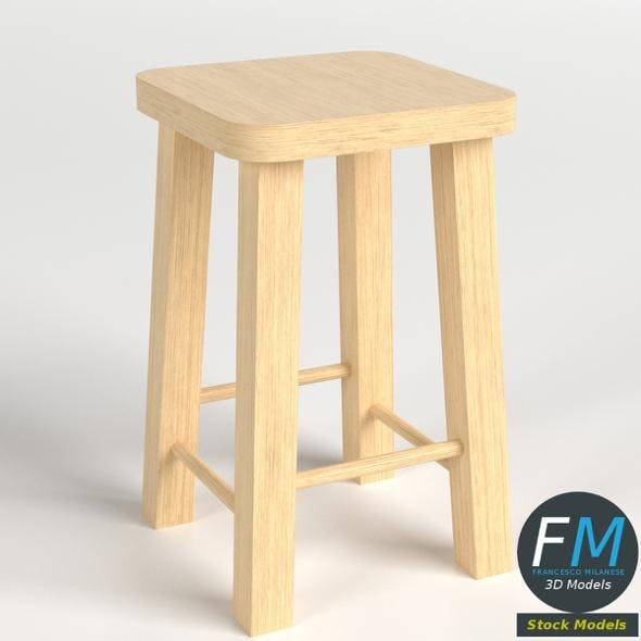 Wooden stool - 3DOcean Item for Sale