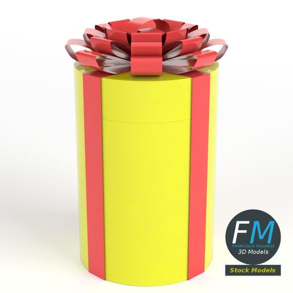 Cylindrical gift case with a ribbon - 3DOcean Item for Sale