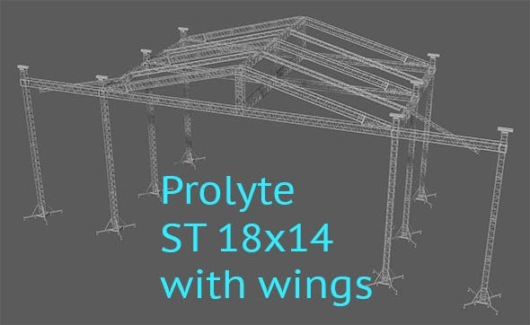 Prolyte ST 18x14 roof with side wings - 3DOcean Item for Sale