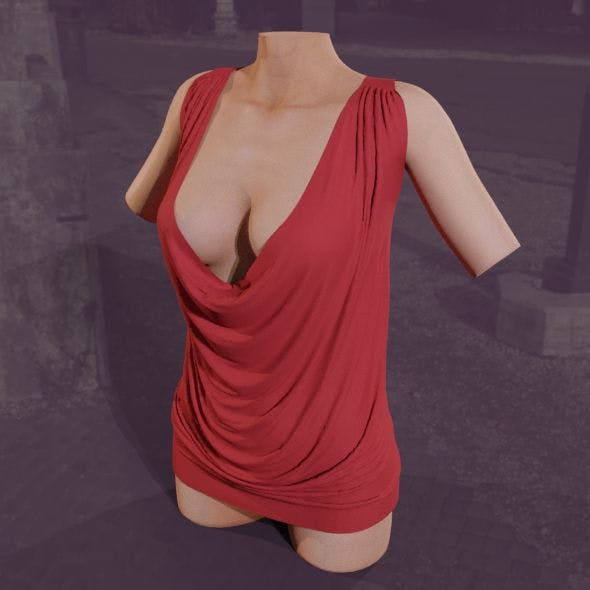 Red loose dress - 3DOcean Item for Sale