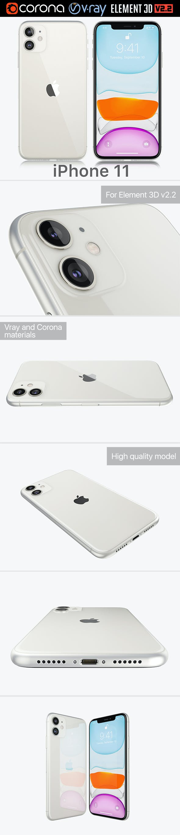 Apple iPhone 11 White 2019 - 3DOcean Item for Sale