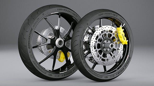 Motorcycle Wheels - 3DOcean Item for Sale