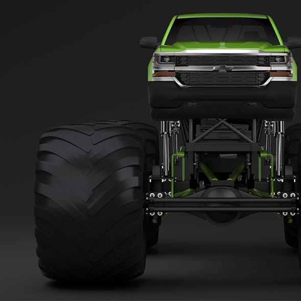 Monster Truck Chevrolet Silverado - 3DOcean Item for Sale