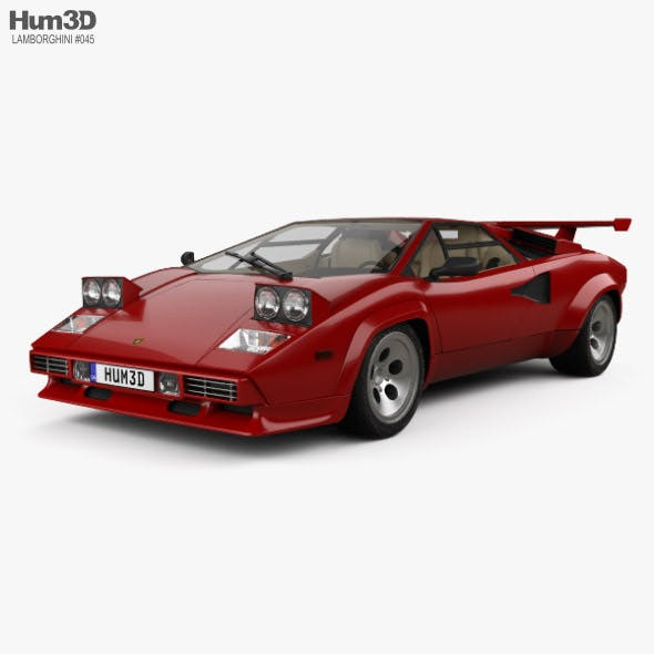 Lamborghini Countach 5000 QV with HQ interior 1985 - 3DOcean Item for Sale