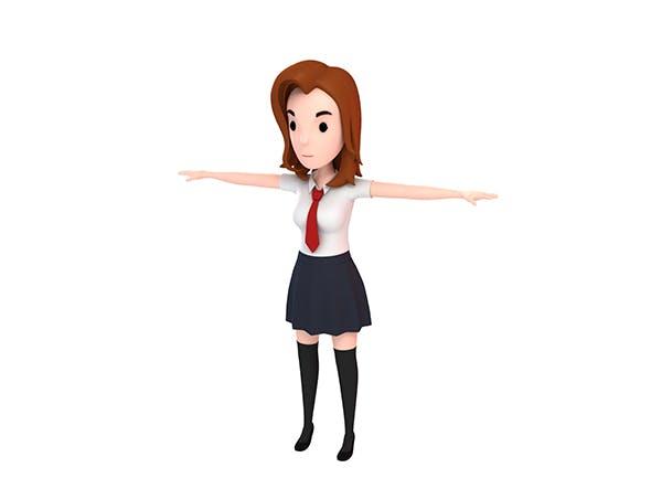 CartoonGirl020 School Girl - 3DOcean Item for Sale