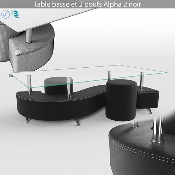 Coffee table and 2 pouffes - 3DOcean Item for Sale