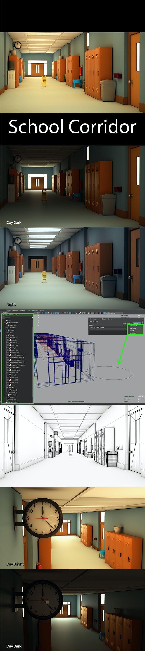 School Corridor - 3DOcean Item for Sale
