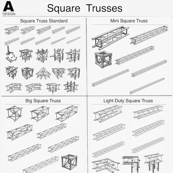 Square Light Trusses Collection - 50 PCS Modular