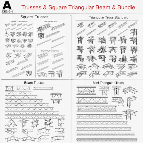 Trusses Square Triangular Beam Bundle Collection - 129 PCS Modular