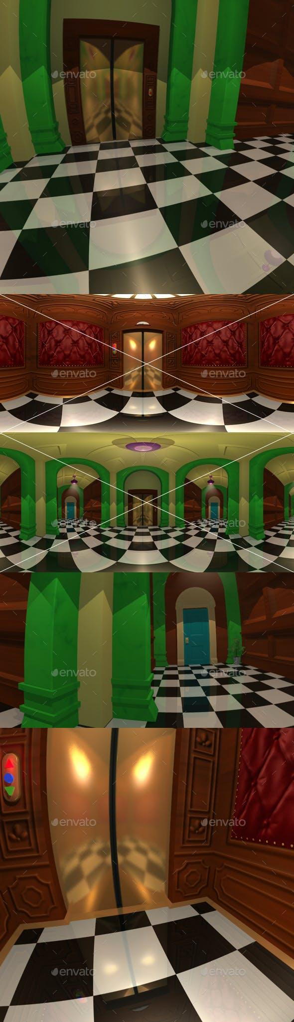 Cartoon Hallway and Elevator HDRI - 3DOcean Item for Sale