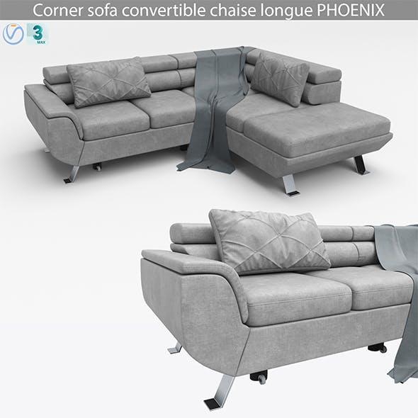 Corner sofa convertible chaise longue PHOENIX - 3DOcean Item for Sale