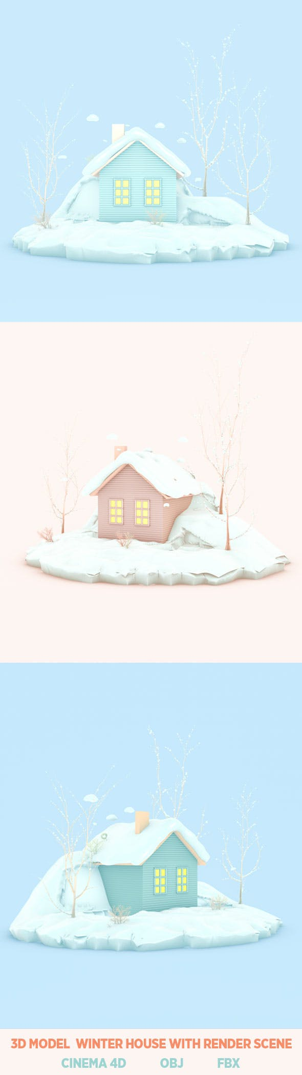 winter new year concept. snow house cartoon background 3d rendering. - 3DOcean Item for Sale