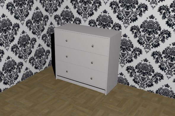 3-Drawer Chest White - 3DOcean Item for Sale