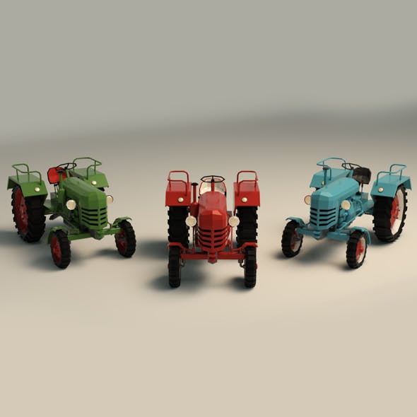 Low Poly Tractor 01
