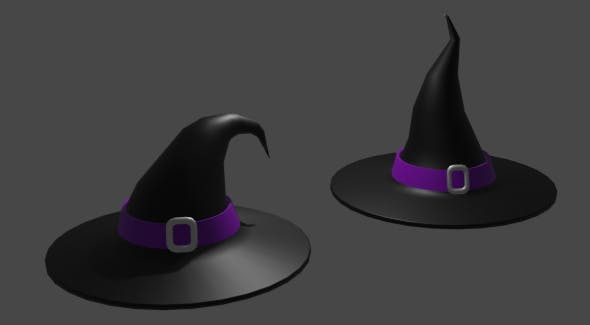 2 lowpoly witch hats - 3DOcean Item for Sale