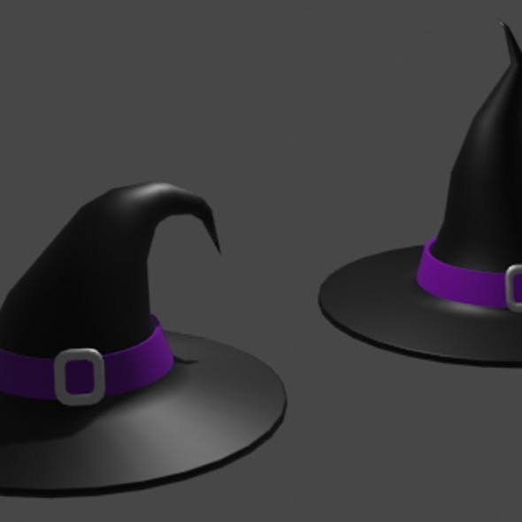 2 lowpoly witch hats