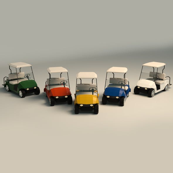 Low Poly Golf Cart - 3DOcean Item for Sale