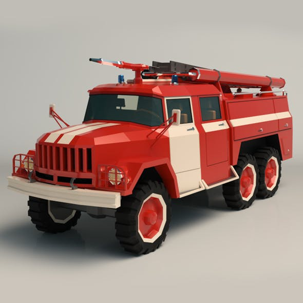 Low Poly Fire Truck 03 - 3DOcean Item for Sale