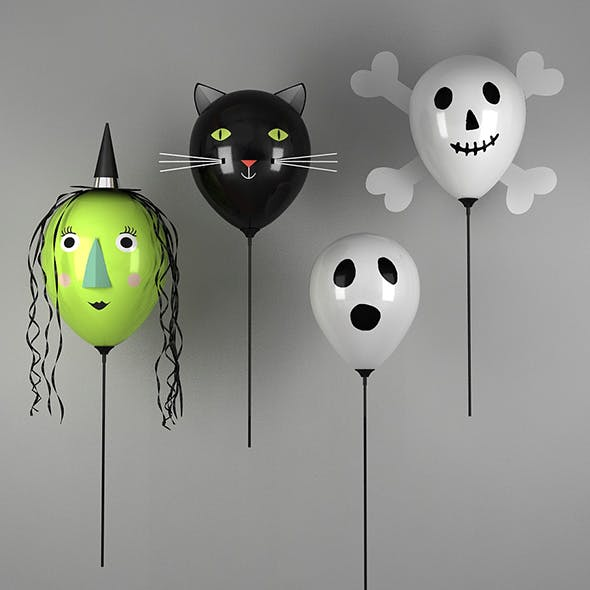 Halloween Balloons - Green Witch, Black Cat and Ghosts - 3DOcean Item for Sale