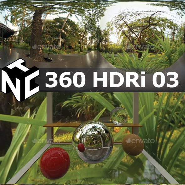 Full spherical 360 HDRi Green Garden view 03