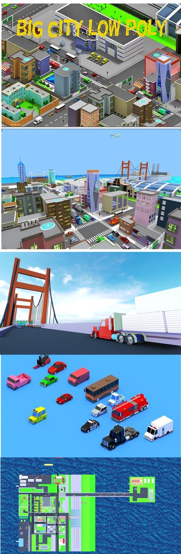 big Low Poly city cartoon - 3DOcean Item for Sale