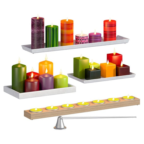 L3DV04G01 - candles and candlesticks set - 3DOcean Item for Sale