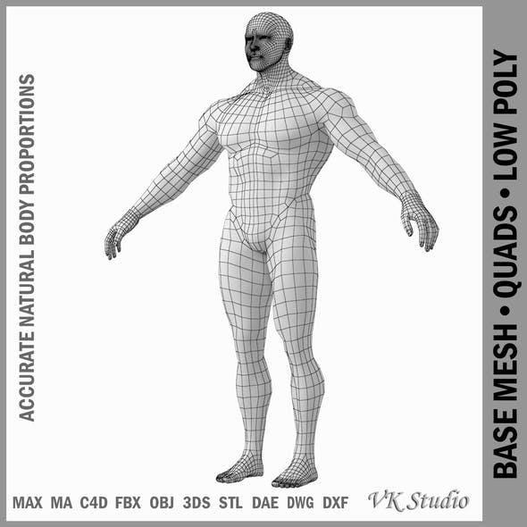 Bodybuilder Male Base Mesh in A Pose - 3DOcean Item for Sale