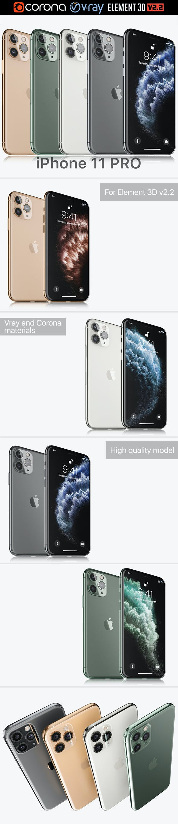 Apple iPhone 11 Pro All colors - 3DOcean Item for Sale