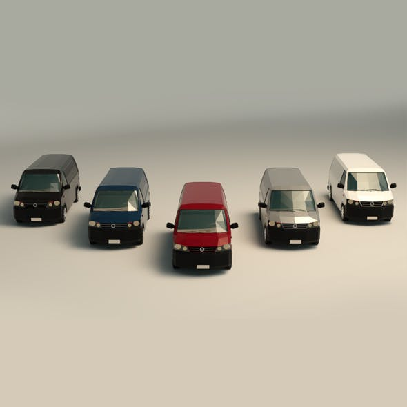 Low Poly Transporter Van 04 - 3DOcean Item for Sale