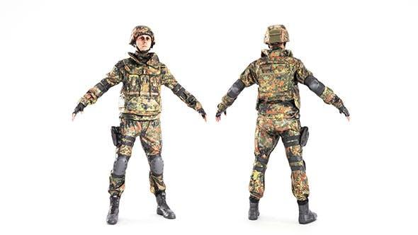 Soldier in Bundeswehr military uniform 11 - 3DOcean Item for Sale