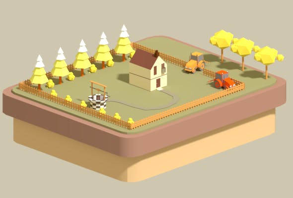 Low poly country house - 3DOcean Item for Sale