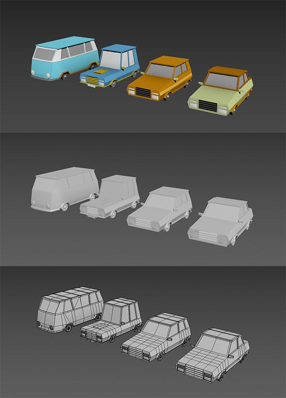 Low Poly Cartoon Cars - 3DOcean Item for Sale