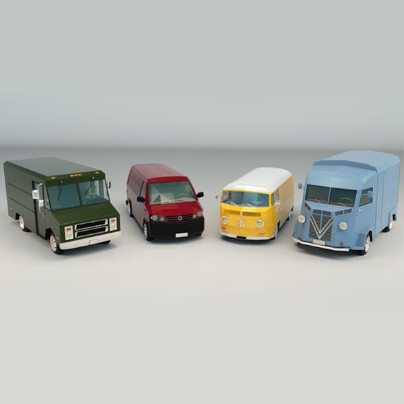 Low Poly Transporter Van Pack - 3DOcean Item for Sale
