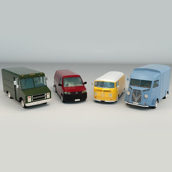 Low Poly Transporter Van Pack