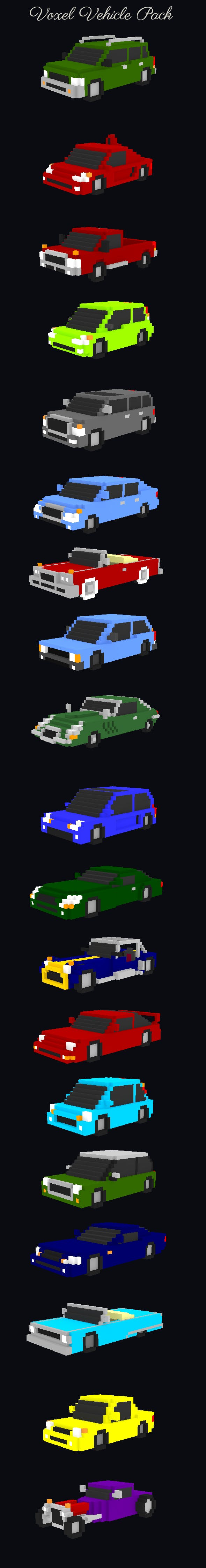 Basic Voxel Vehicle Pack - 3DOcean Item for Sale