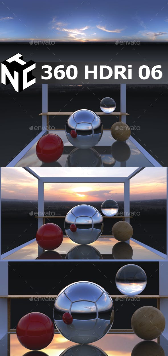 Full spherical 360 HDRi Sunset view 06 - 3DOcean Item for Sale