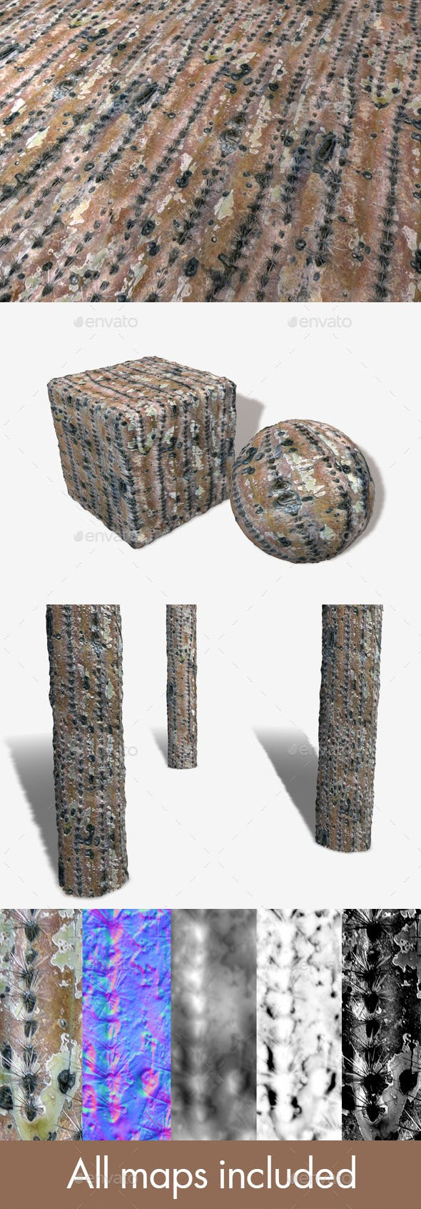 Dry Cactus Seamless Texture - 3DOcean Item for Sale