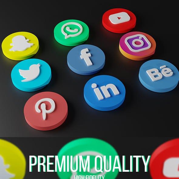 Social Media 3D Logos